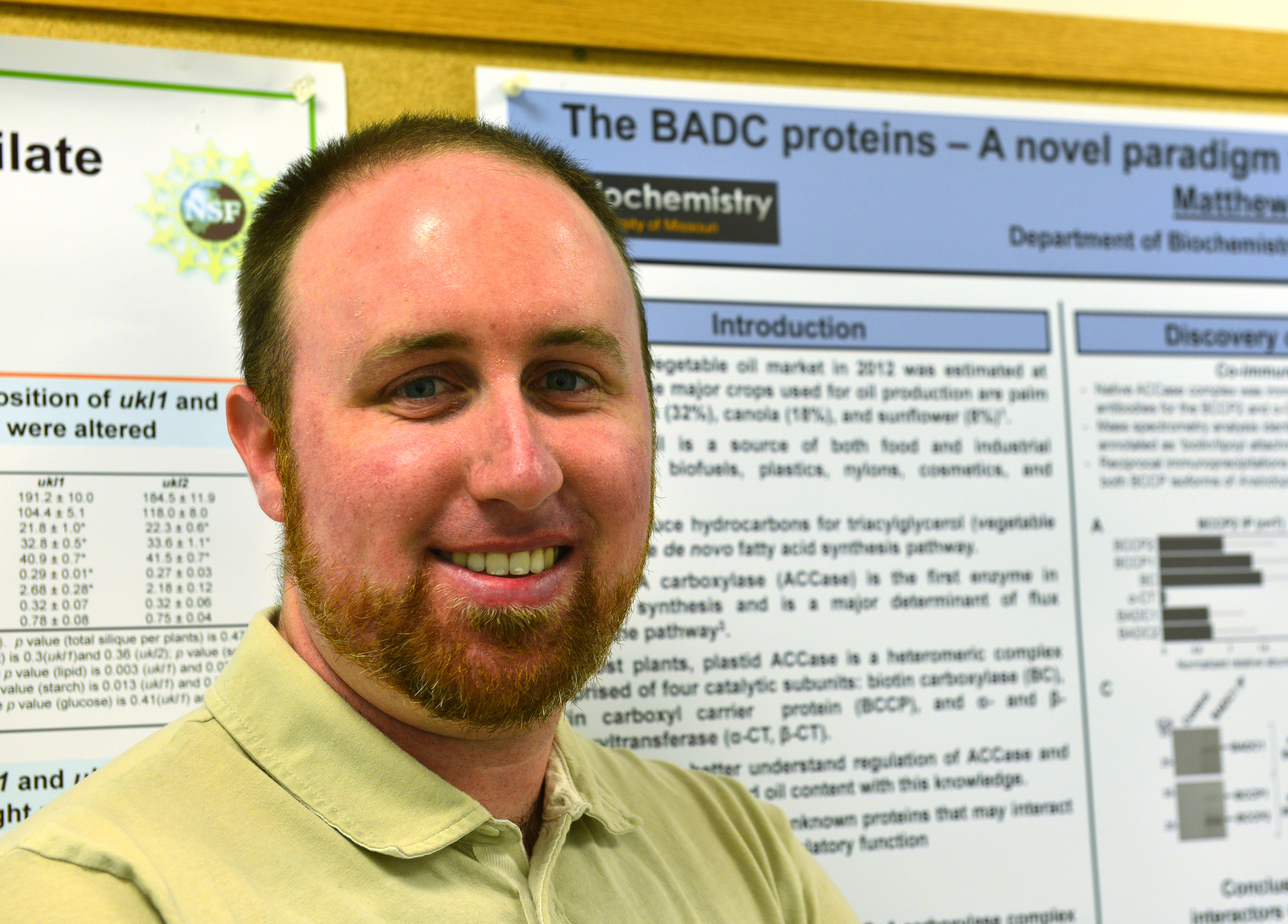 Matthew Salie, a fourth year MU graduate student in biochemistry, was recently honored for his research presented during Missouri Life Sciences Week 2015. //photo by Caleb O'Brien | © 2015 – MU Bond Life Sciences Center