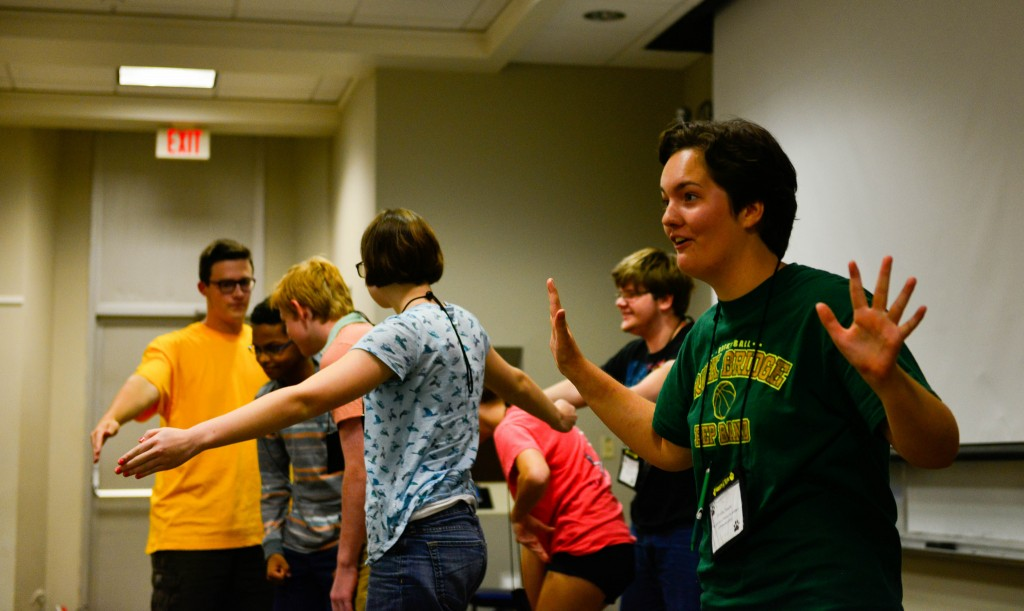 """On the final day of the Summers @ Mizzou camp """"The Arts as a Portal to Science Communication,"""" the students performed theatrical and literary interpretations of the science they studied. //photo by CALEB O'BRIEN/BondLSC"""