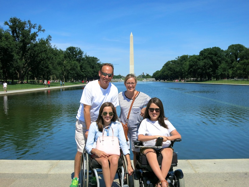 Time and Natalie Gibbs with their daughters Lauren, 17 (left) and Claire, 16 (right) in Washington D.C. The family have been visible advocates in the fight for a cure for spinal muscular atrophy. | Photo provided by the Gibbs family.