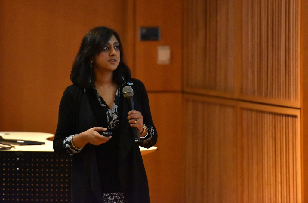 Joya Chandra, associate professor of pediatrics at The University of Texas MD Anderson Cancer Center, explains the epigenetics of pediatric cancers at the 2015 MU LSSP Symposium on epigenetics on Sunday, March 15.//photo by Caleb O'Brien/Bond LSC